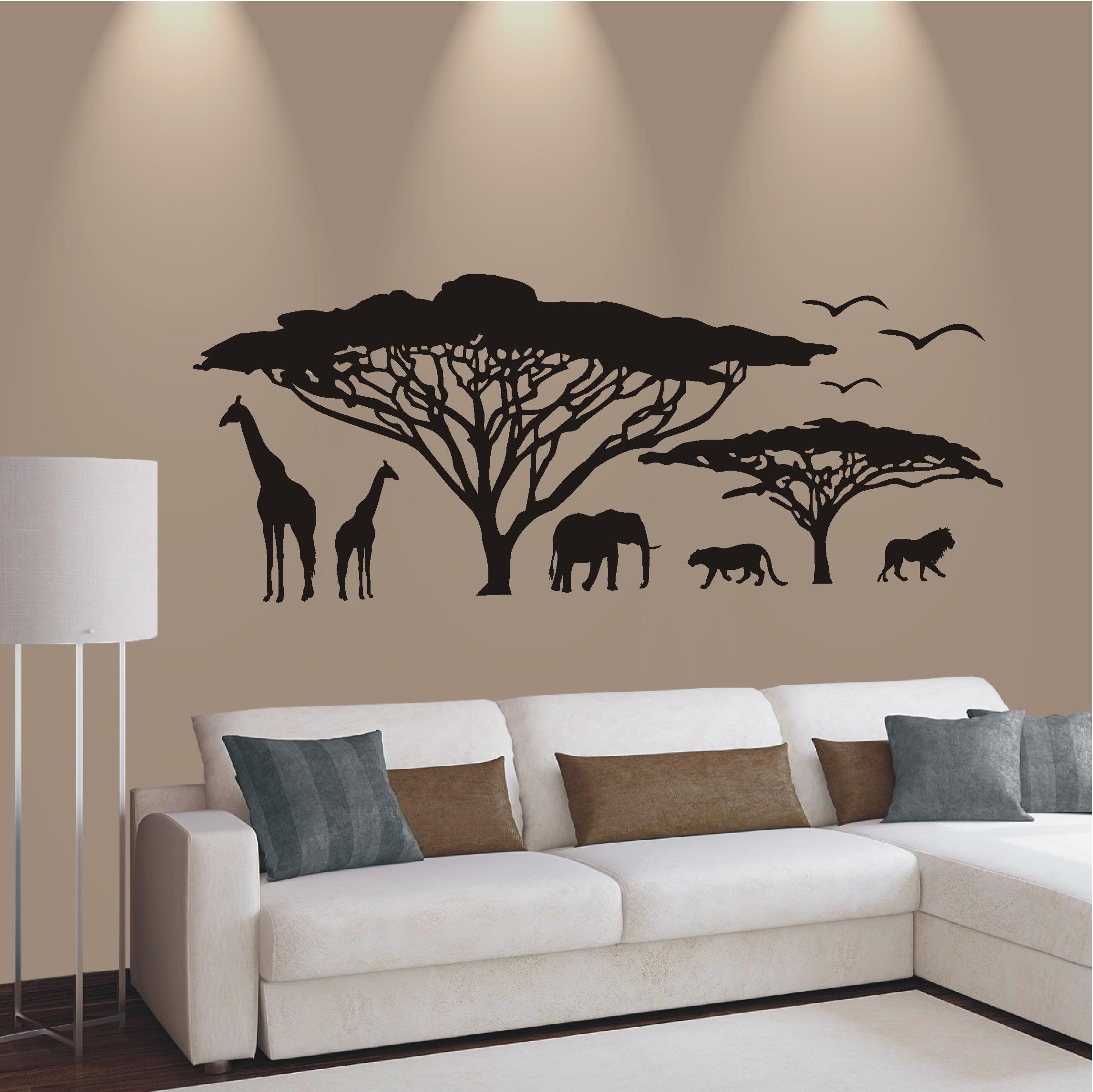 wandtattoo wandaufkleber afrika landschaft steppe savanne. Black Bedroom Furniture Sets. Home Design Ideas