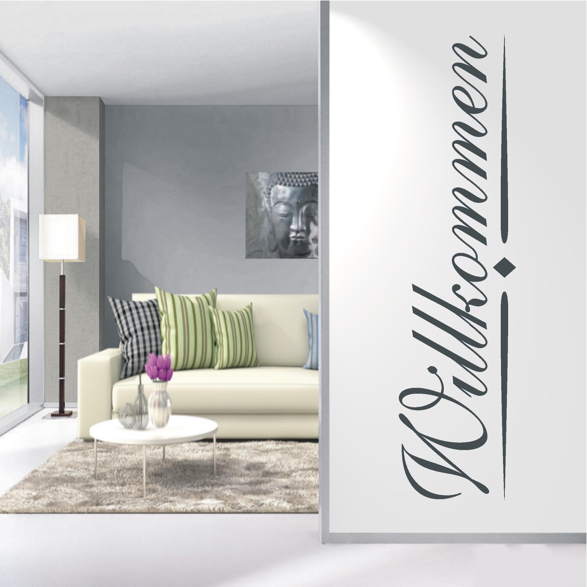 wandtattoo willkommen wandaufkleber wandsticker wohnzimmer. Black Bedroom Furniture Sets. Home Design Ideas