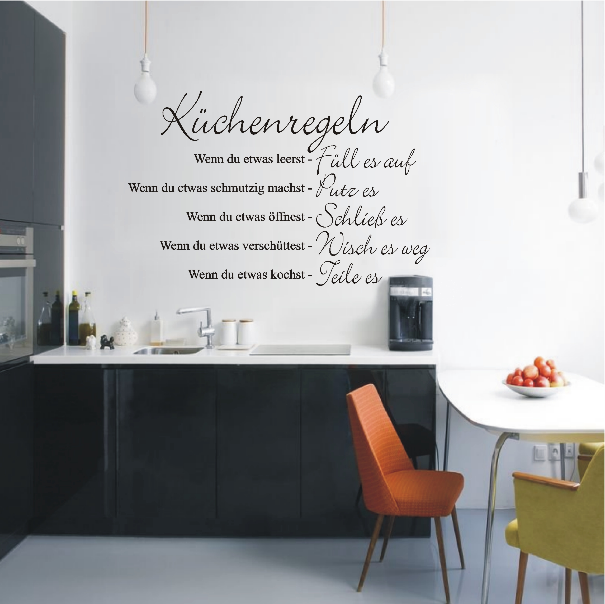 WANDTATTOO Wandaufkleber Küchenregeln Küche WG Schriftzug Regeln 449 ...