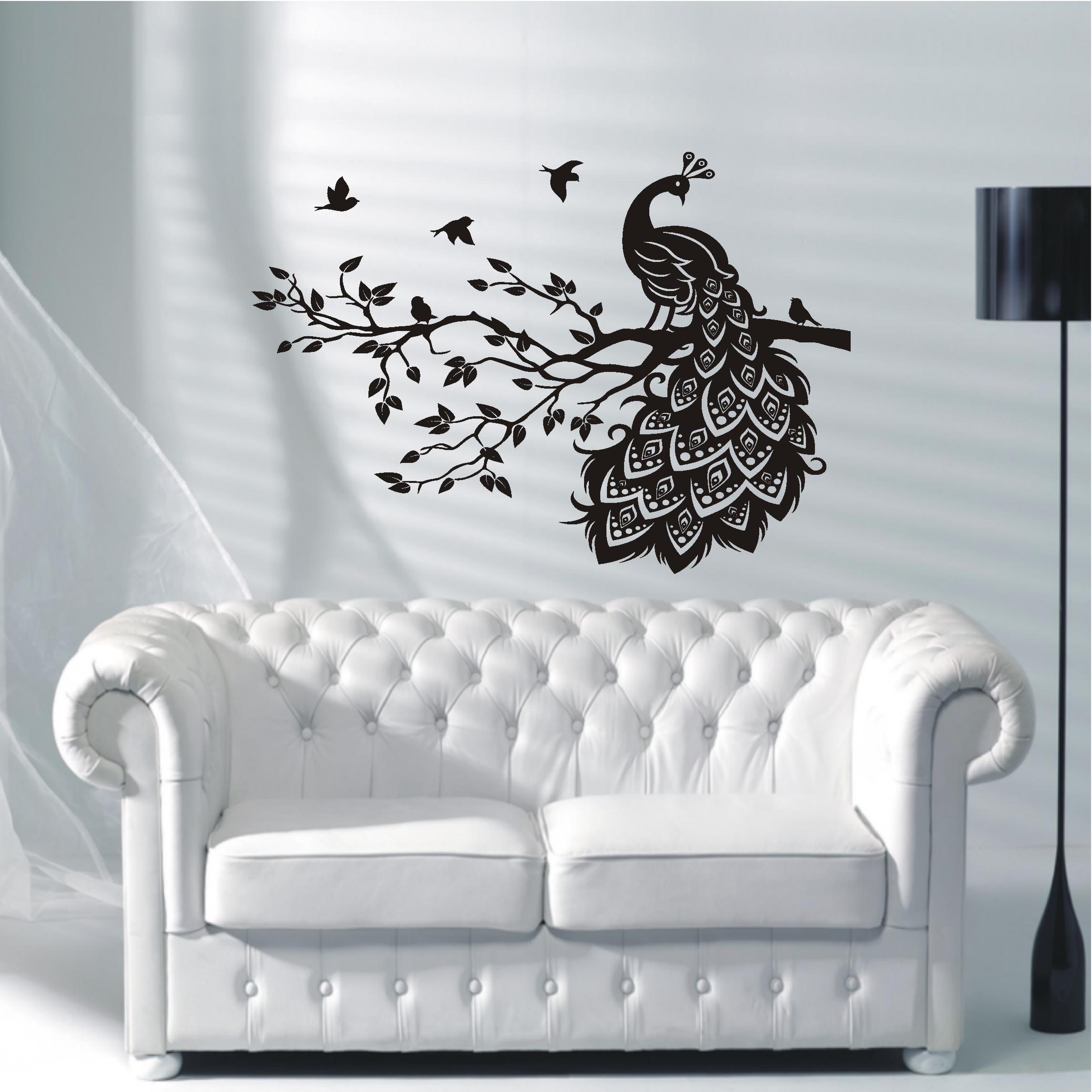 wandtattoo wandaufkleber pfau vogel ast wohnzimmer. Black Bedroom Furniture Sets. Home Design Ideas