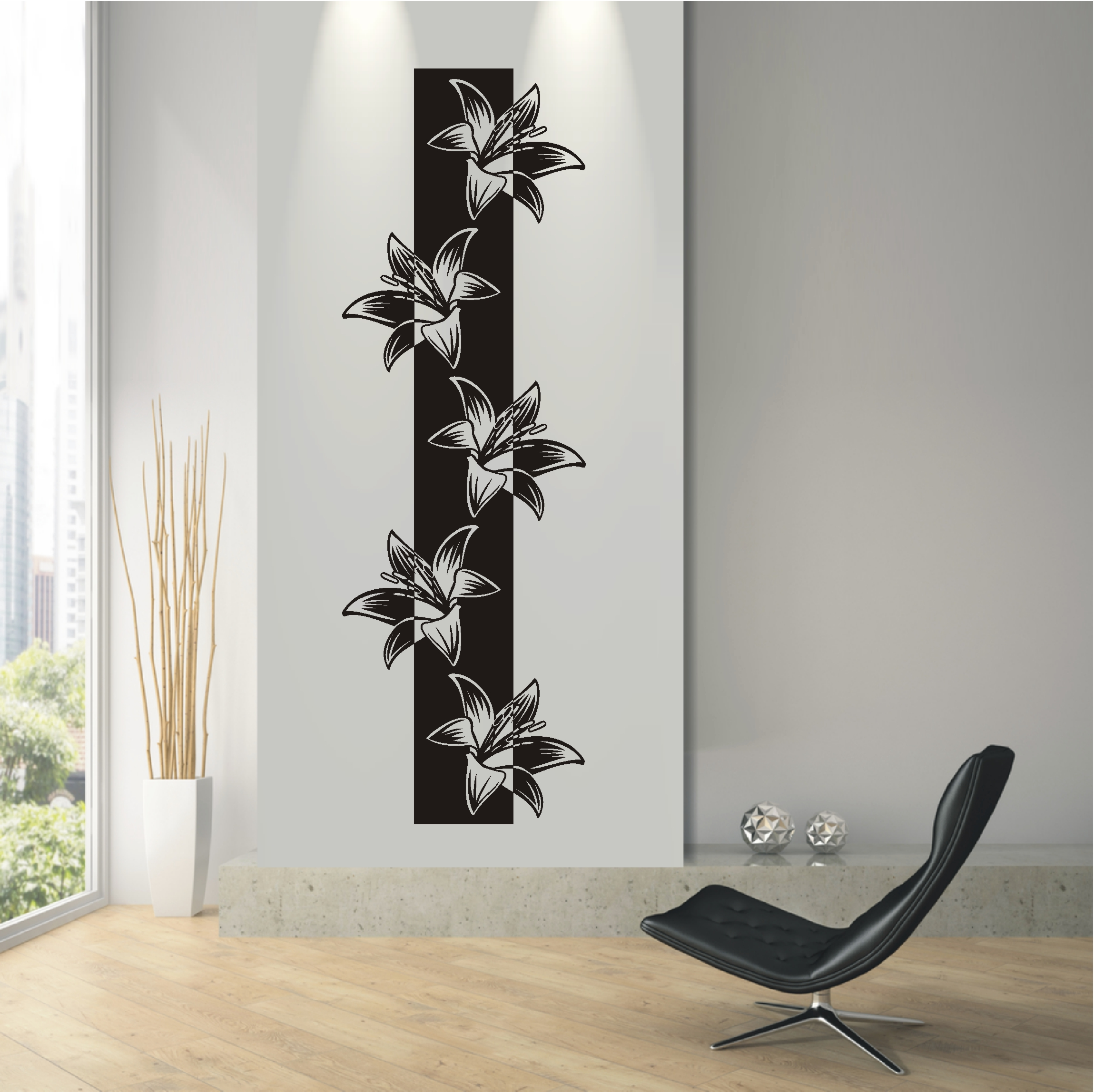 wandtattoo wandaufkleber blumen ranke banner bl ten. Black Bedroom Furniture Sets. Home Design Ideas