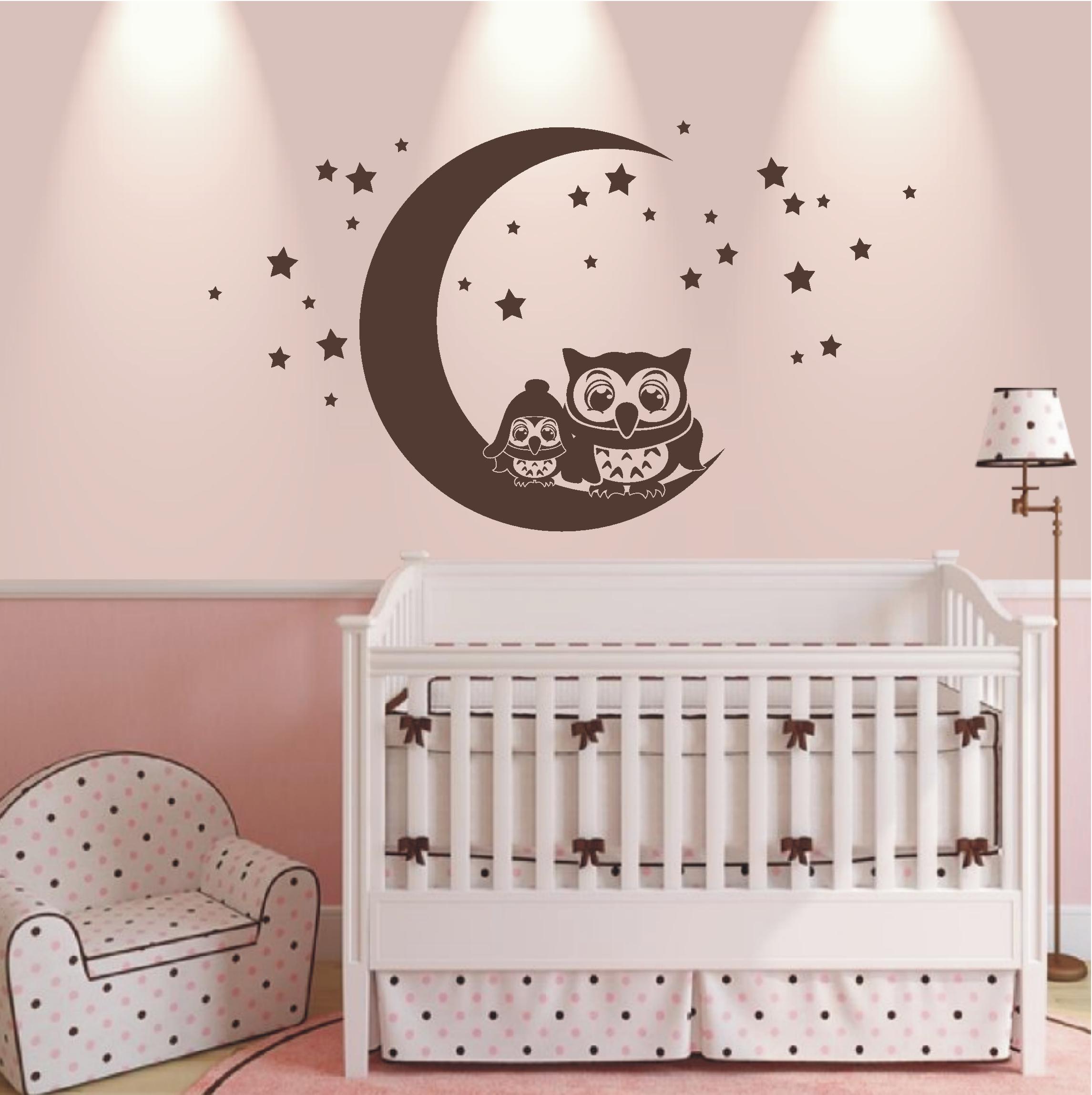 Details zu WANDTATTOO Wandaufkleber Eulen Mond Sterne Wandaufkleber  Kinderzimmer Baby 542