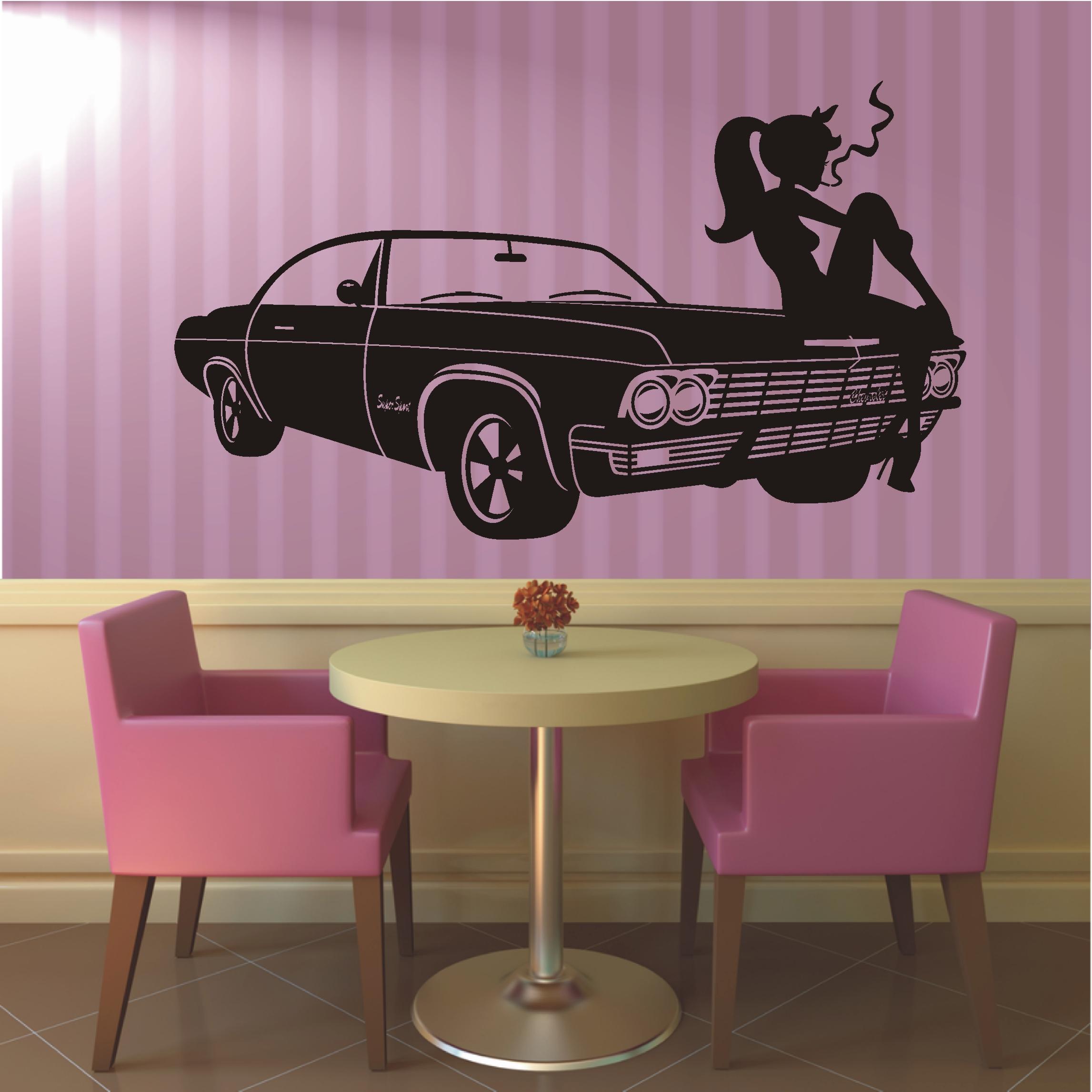 """/""""Pin Up Girl/"""" Wandtattoo Wandaufkleber Wandbild Folie Rockabilly Rock /'n/' Roll"""