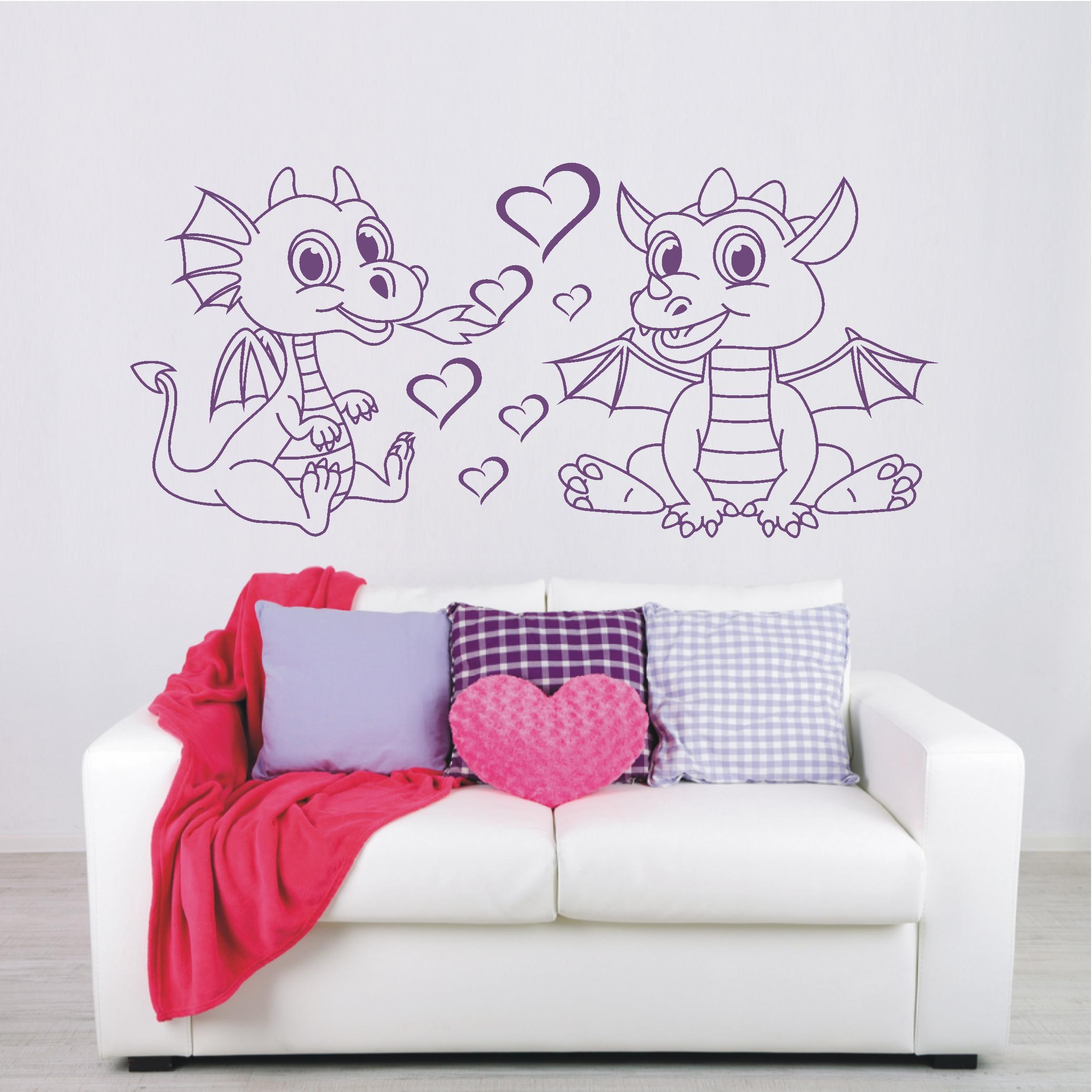 wandtattoo wandaufkleber herzen drachen babys drache. Black Bedroom Furniture Sets. Home Design Ideas