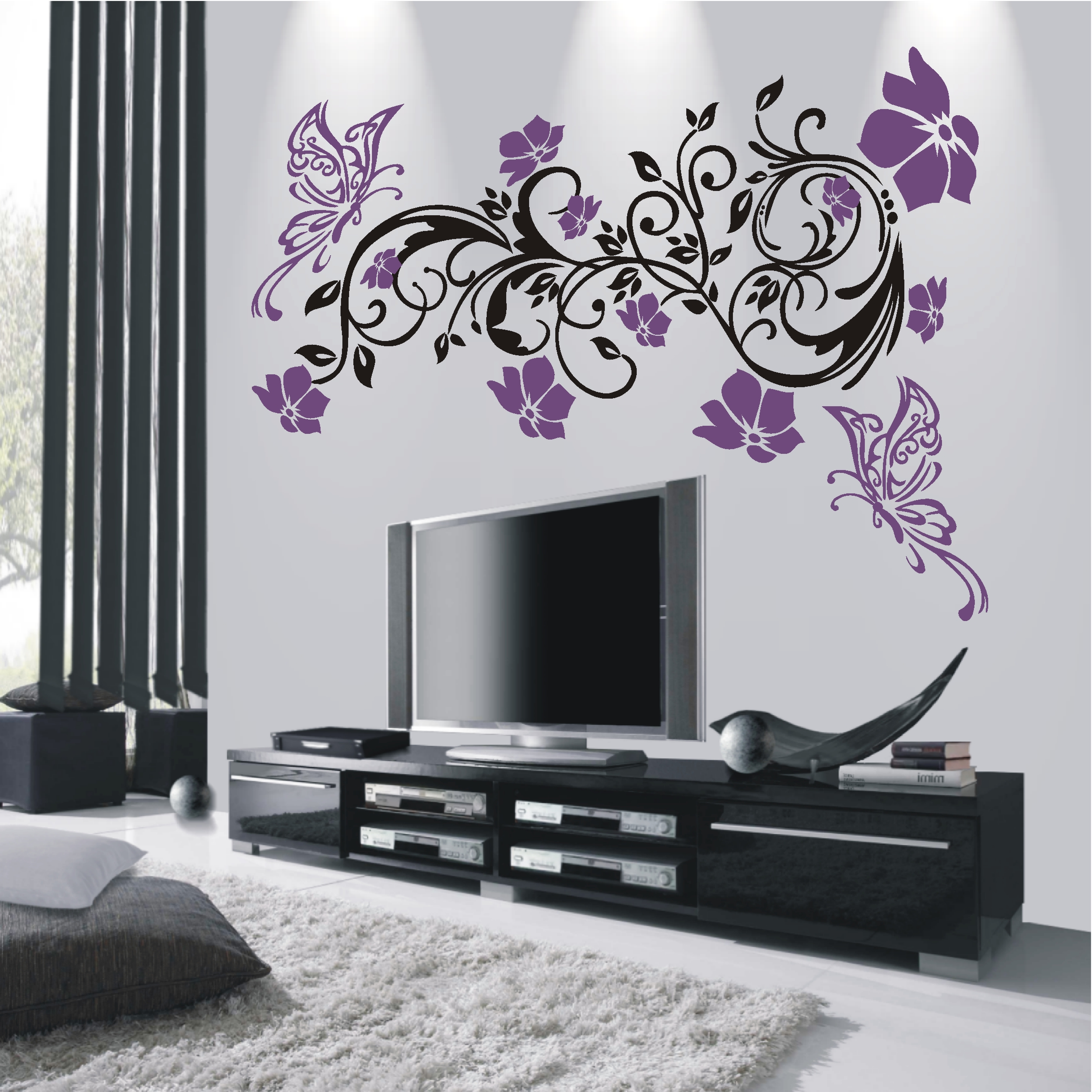 wandtattoo hibiskus ranke reuniecollegenoetsele. Black Bedroom Furniture Sets. Home Design Ideas