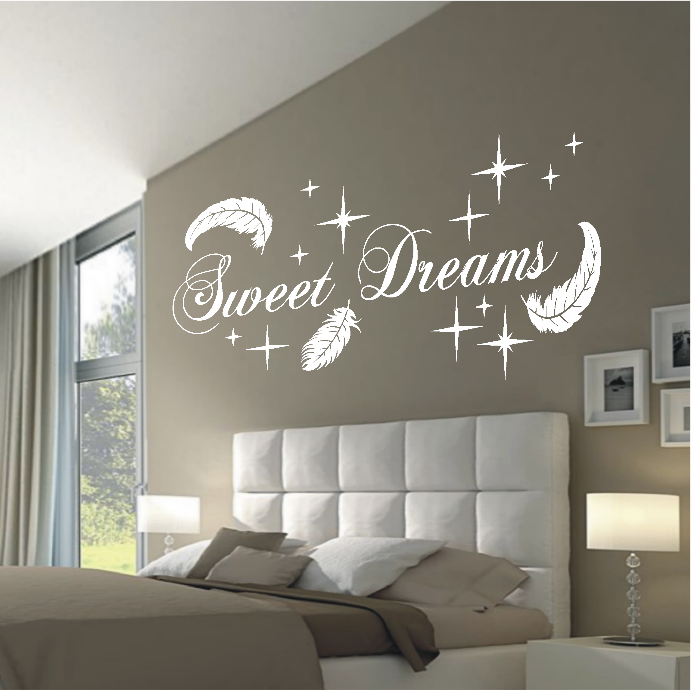 wandtattoo wandaufkleber sweet dreams federn deko schlafzimmer flur motiv 767 xl ebay. Black Bedroom Furniture Sets. Home Design Ideas